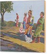 Going To The Powwow Wood Print