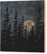 Going To The Sun Moonrise Wood Print