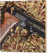 Gold 9mm Beretta With Brass Ammo Wood Print