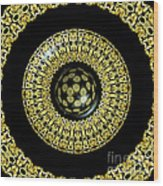 Gold And Black Stained Glass Kaleidoscope Under Glass Wood Print