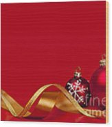 Gold And Red Christmas Decorations Wood Print