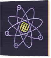 Gold And Silver Line Atomic Structure Wood Print
