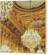 Gold Ceiling And Chandeliers Wood Print