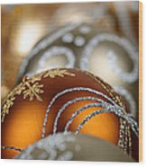 Gold Christmas Ornaments Wood Print