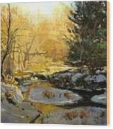 Gold Creek Glow Wood Print