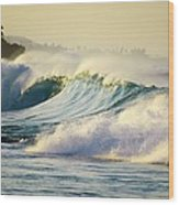 Gold Crested Surf Wood Print