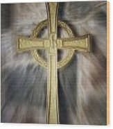Gold Cross Wood Print