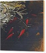Gold Fish Swimming Wood Print