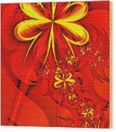 Gold Flowers Wood Print