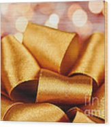 Gold Gift Bow With Festive Lights Wood Print