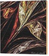 Gold Leaf Wood Print by Elizabeth McTaggart