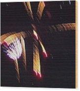 Gold Leafy Firework Wood Print
