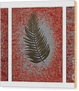 Gold Leaves On Orange Triptych Wood Print