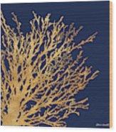Gold Medley On Navy Wood Print