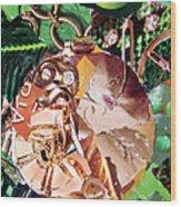 Gold Ornament Wood Print