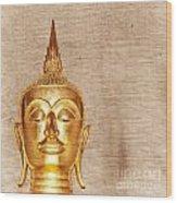 Gold Painted Buddha Statue Wood Print
