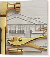 Gold Plated Tools And Blueprints Wood Print