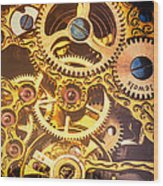Gold Pocket Watch Gears Wood Print by Garry Gay