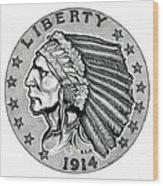 Gold Quarter Eagle Wood Print