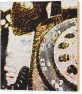 Gold Rotary Phone Wood Print