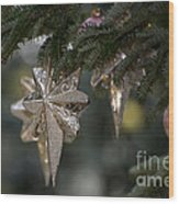 Gold Star Christmas Tree Ornament 4 Of 4 Wood Print