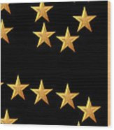 Gold Stars Abstract Triptych Part 3 Wood Print by Rose Santuci-Sofranko