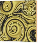 Gold Swirl Wood Print