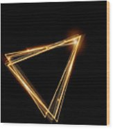 Gold Triangle Glowing Frame. Abstract Wood Print