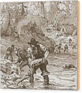 Gold Washing In California, From A Book Wood Print