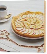 Golden Apple Tart And Coffee Cup Wood Print