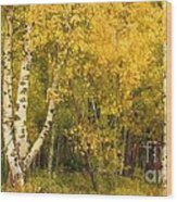 Golden Autumn Forest Mixed Media Painting Wood Print