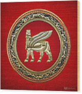 Golden Babylonian Winged Bull  Wood Print