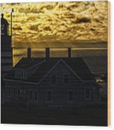 Golden Backlit West Quoddy Head Lighthouse Wood Print