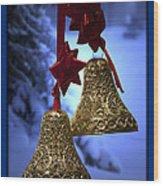 Golden Bells Blue Greeting Card Wood Print