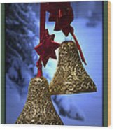 Golden Bells Green Greeting Card Wood Print