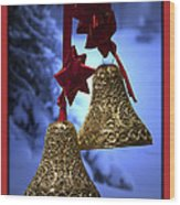 Golden Bells Red Greeting Card Wood Print