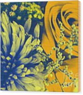 Golden Blossoms Pop Art Wood Print
