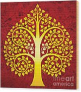 Golden Bodhi Tree No.1 Wood Print