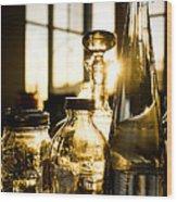 Golden Bottles And Mason Jars Wood Print