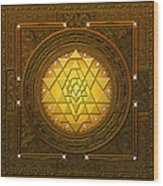 Golden-briliant Sri Yantra Wood Print
