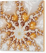 Golden Brown And White Luxe Abstract Art Wood Print