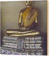 Golden Buddha On Pedestal Wood Print