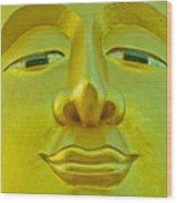 Golden Buddha Smile Wood Print by Allan Rufus