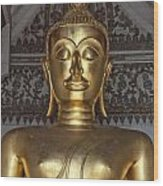Golden Buddha Temple Statue Wood Print by Antony McAulay