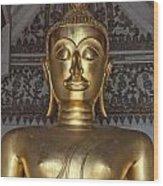Golden Buddha Temple Statue Wood Print