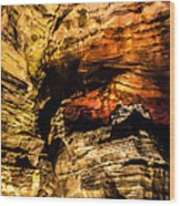 Golden Caverns Wood Print