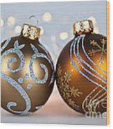 Golden Christmas Ornaments Wood Print