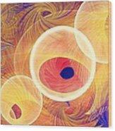 Golden Circles Abstract Wood Print
