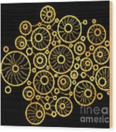 Golden Circles Black Wood Print