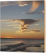 Golden Clouds And Blue Sky Wood Print